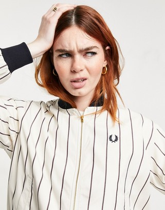 Fred Perry striped bomber jacket in white