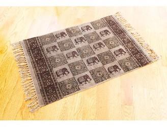 World Menagerie One-of-a-Kind Pryor Elephant Batik Block Printed Handmade 2' x 3' Dhurrie Cotton Gray Area Rug