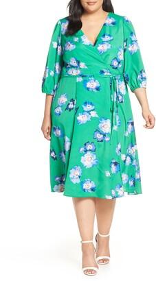 Eliza J Blouson Sleeve Wrap Midi Dress