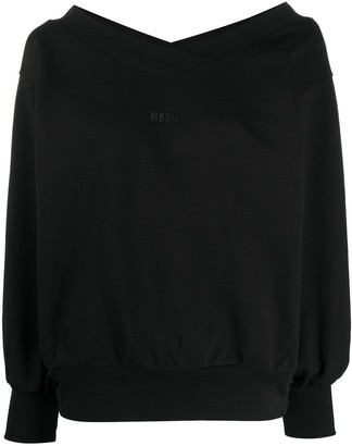 MSGM embroidered logo V-neck sweatshirt