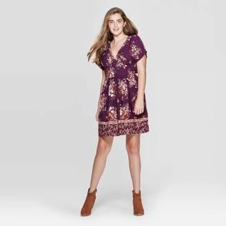 Xhilaration Women's Floral Print Short Sleeve Button-Front Deep V-Neck Mini Dress - XhilarationTM Plum