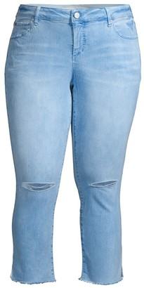 Slink Jeans, Plus Size The Frayed Hem Cropped Jeans
