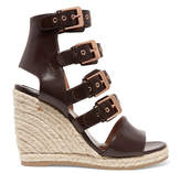 Laurence Dacade Rosario Buckled Leather Espadrille Wedge Sandals - Chocolate