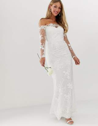 Little Mistress bridal embroidered sequin mesh long sleeve boat neck dress-White