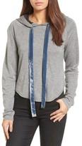 Kenneth Cole New York Women's Velvet Tie Crop Hoodie