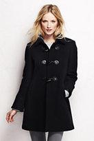 Classic Women's Petite Basketweave Wool Toggle Coat-Black