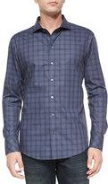 Zachary Prell Tonal Windowpane Long-Sleeve Shirt, Navy