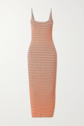 Paco Rabanne Ribbed Checked Cotton Jacquard-knit Midi Dress - Orange