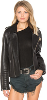 Maison Scotch Biker Leather Jacket in Black