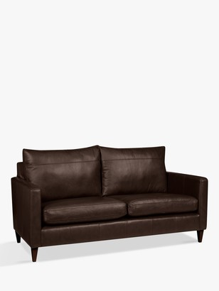 John Lewis & Partners Bailey Medium 2 Seater Leather Sofa, Dark Leg