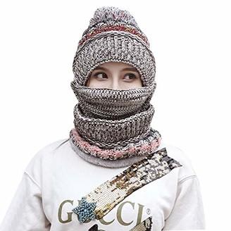 Afinder Toddler Kids Winter Thick Contrast Color Knit Long Scarf Beanie Skull Cap Set
