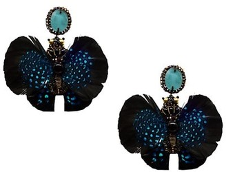 Ranjana Khan Beaded Feather Clip-On Drop Earrings