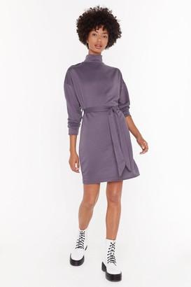 Nasty Gal Womens Tie A Little Harder Knit Jumper Dress - Purple - 4