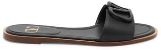 Valentino VLogo Leather Slide Sandals