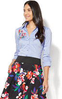 New York & Co. 7th Avenue - Madison Stretch Shirt - Embroidered - Blue Streak