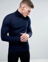 Lindbergh Sweater With Roll Neck In Navy Merino Wool