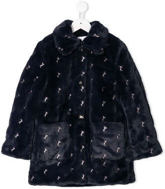 Chloé Kids Embroidered Horse Faux Fur Coat