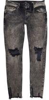 River Island MensBlack faded raw hem Sid skinny jeans