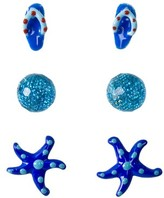 Kids' Sterling Silver Flip-Flop, Ball and Starfish Earring Set