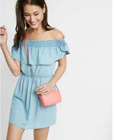 Express Off The Shoulder Denim Mini Dress