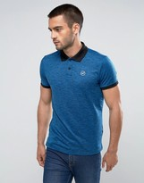 Hollister Athleisure Polo In Blue Marl With Contrast Collar