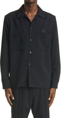 Needles Cut Off Bottom Butterfly Embroidered Button-Up Shirt