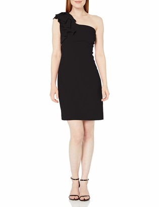 Vince Camuto Women's Asymmetric Tiered One-Shldr Crepe Ponte Dress