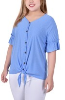 Thumbnail for your product : NY Collection Plus Size Short Ruffle Sleeve Button and Tie Front Blouse