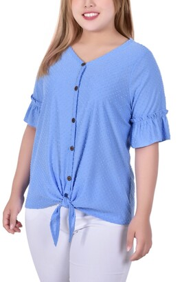 NY Collection Plus Size Short Ruffle Sleeve Button and Tie Front Blouse
