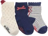 Robeez Navy & Gray Stripe Three-Pair Socks Set