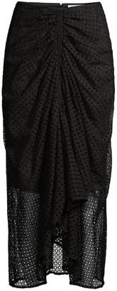 Significant Other Malia Draped Eyelet Midi Skirt