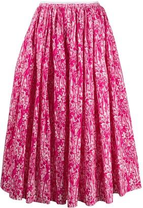 Marni Brushstroke Floral Print Midi Skirt