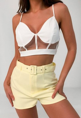 Missguided Yellow Co Ord Belted Shorts