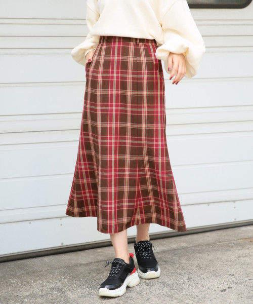 Heather (ヘザー) - チェックセミフレアロングスカート