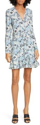 Veronica Beard Riggins Long Sleeve Floral Silk Dress