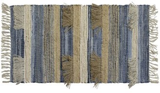 """French Connection Mitsiki Striped Hand-Knotted Cotton Denim Blue Area Rug Rug Size: Rectangle 2'3"""" x 3'9"""""""