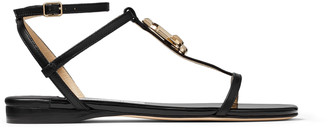 Jimmy Choo ALODIE FLAT Black Nappa and Patent Leather Flat Sandals
