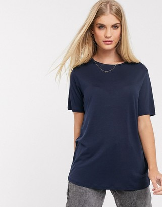 ASOS DESIGN relaxed t-shirt in drapey fabric in navy