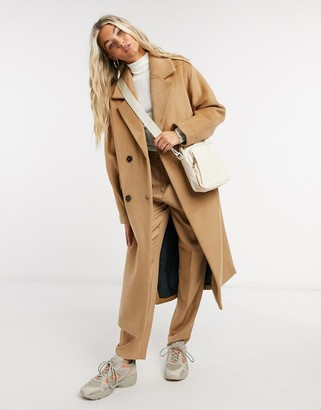Selected oversized double breasted wool coat with side splits in camel