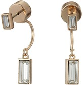 Vince Camuto Pave Crystal Baguette Front Back Earrings