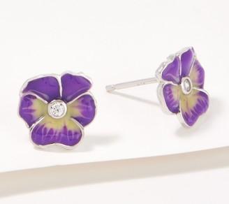 Diamonique Pansy Enamel Stud Earrings, Sterling Silver