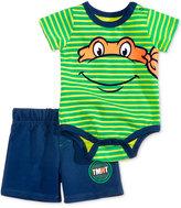 Nannette 2-Pc. Striped Tmnt Michelangelo Bodysuit & Shorts Set, Baby Boys (0-24 months)