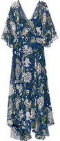 ADAM by Adam Lippes Floral-print Silk-chiffon Maxi Dress - Blue