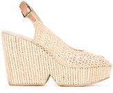 Robert Clergerie slingback woven wedge sandals - women - Vegetable Fibres - 37.5