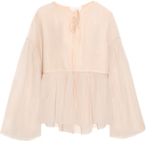 Chloé Tie-neck cotton and silk-blend crepon top