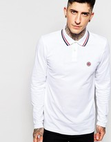Pretty Green Polo Shirt with Tipping Long Sleeves