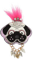 Betsey Johnson Two-Tone Multi-Stone and Faux Fur Dog Pin