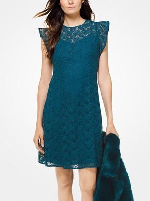 MICHAEL Michael Kors Floral Lace Flounce-Sleeve Dress