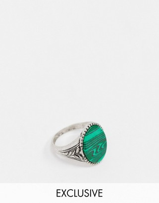 Reclaimed Vintage inspired harmony ring with malachite stone in silver
