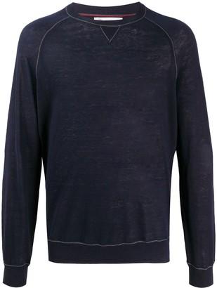Brunello Cucinelli Crew Neck Contrast Trim Sweater